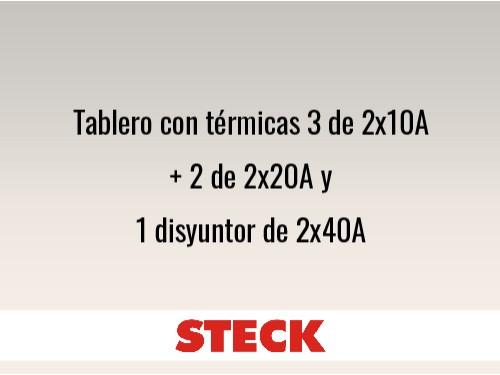 Tablero con térmicas 3 de 2x10A + 2 de 2x20A y 1 disyuntorde 2x40A