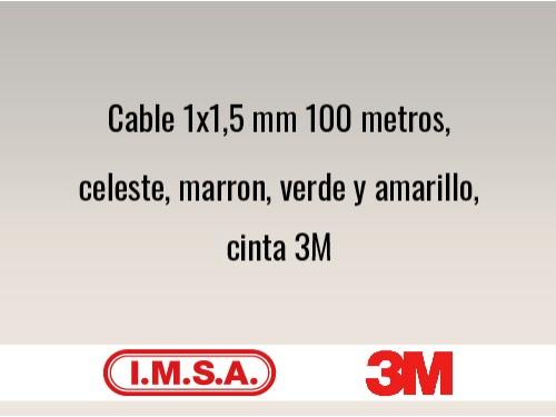 Cable 1x1,5 mm 100 metros, celeste, marron, verde y amarillo, cinta 3m