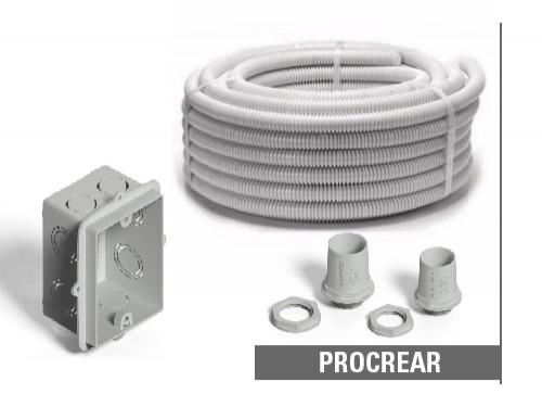 Pack de caños corrugados con cajas y conectores para tu PROCREAR