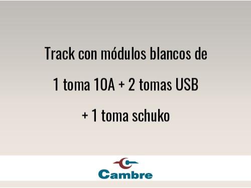 Track con módulos blancos de 1 toma 10A + 2 tomas USB + 1 toma schuko