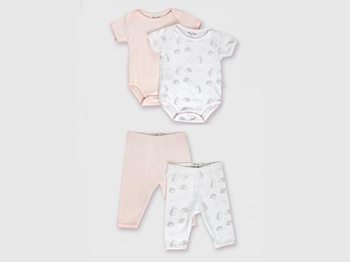 Pack Beba Newborn Bodies x 2 + Pantalones x 2: Liso y Estampa Pioppa