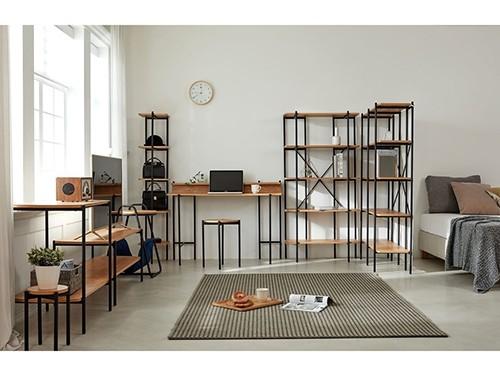 Mesa De Arrime Lateral Pedestal x2 Industrial Acacia Moderno