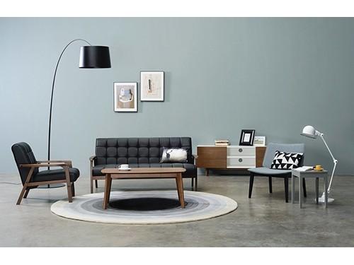 Sillon Sofa de 3 Cuerpos Eco Cuero Negro Tucson