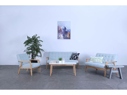 Sillon Sofa de 3 Cuerpos Tucson Tela Color Celeste