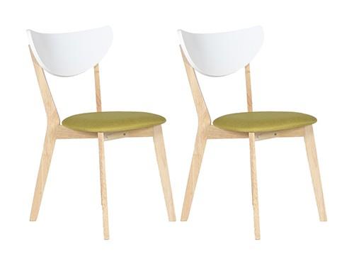 Set de 2 Sillas de Comedor Modernas Wendover Natural Verde