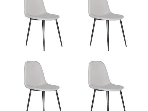 Set de 4 Sillas de Comedor Eames Velvet Gris