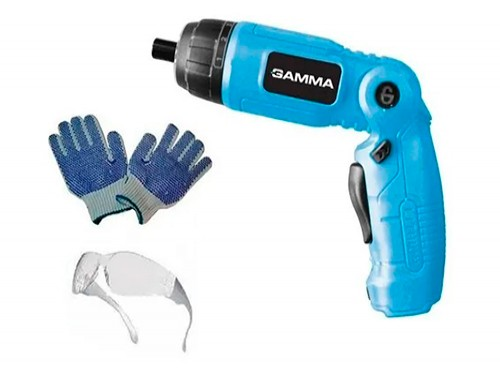 Atornillador Articulado Gamma Bateria Linterna Con 10 Puntas