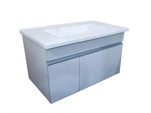 Vanitory 80 Cm Blanco Colgante Bacha Marmol Sintetico Blanco