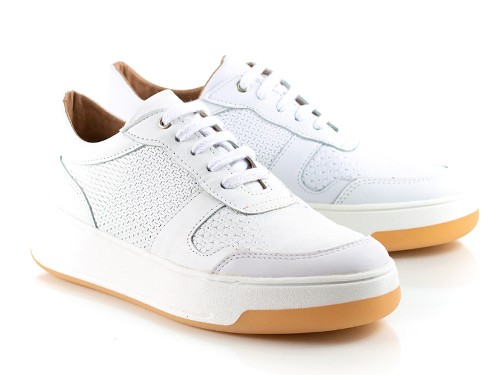 Zapatillas de cuero blancas grabadas Mei