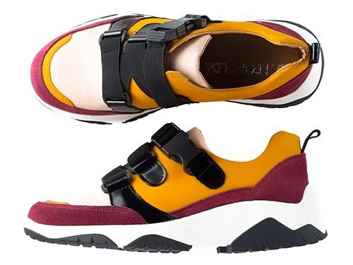 Zapatillas con elásticos bordó y mostaza Suki