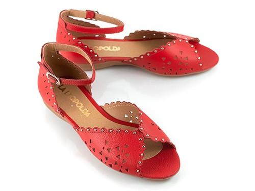 Sandalias bajas caladas rojas Alesia