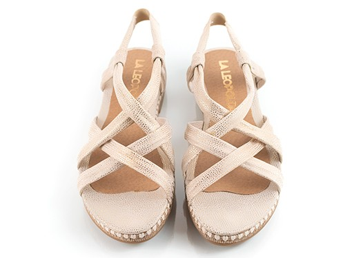 Sandalias bajas beige metalizado Cameron