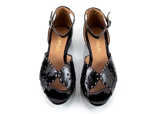 Sandalias bajas charol negro Alesia