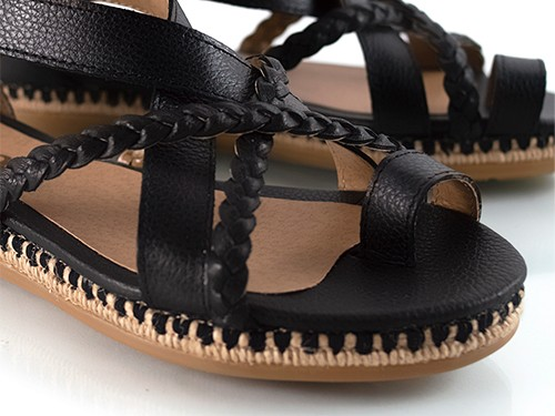 Sandalias bajas negras graneado Rajesh