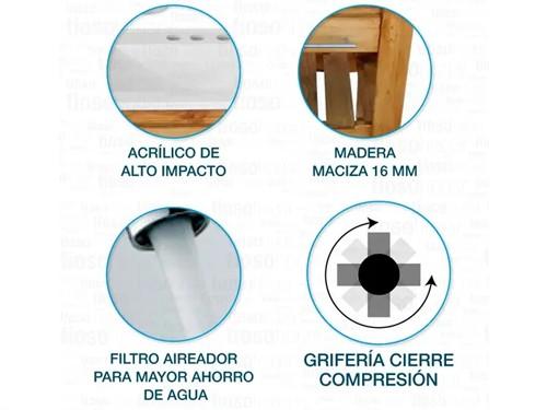 Combo Vanitory Bacha Maral 50 Cm Griferia Lavatorio Set Baño