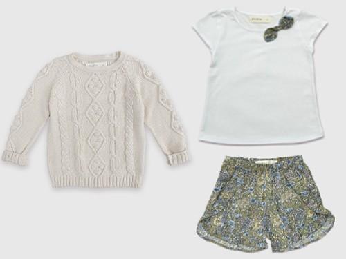 Pack Nena Look Julia: Remera + Short estampado + Sweater tejido Pioppa