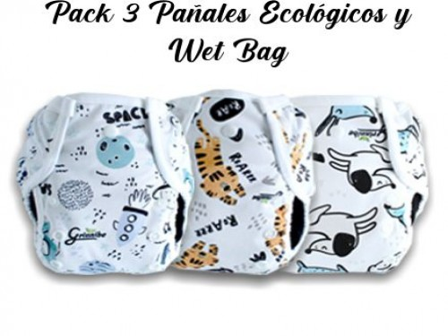 Pack 3 Pañales Ecológicos + Wet Bag
