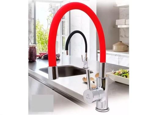 Griferia Cocina Mesada Pico Flexible Aqualaf Flex Colores