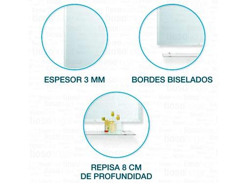 Espejo Biselado Repisa Baño Rectangular Estante 50x60 Borde