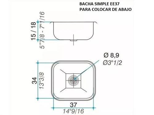 Pileta Simple Bacha Ee37 B Acero Inoxidbale Johnson Envio