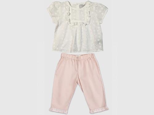 Pack Beba Look Mica: Camisa de broderie + Pantaló con volados Pioppa