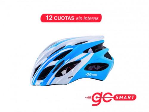 Casco Bike - Blanco & Celeste L
