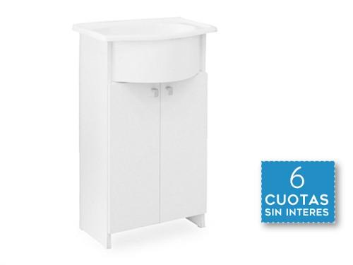 Vanitory Clasico Baño Bacha Marmol Sintetico Blanco Cm 50