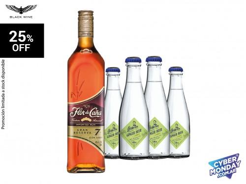 Set Flor de Caña Gran Reserva 7 años 750 ml. + Pack Hinks & Sons Ginge