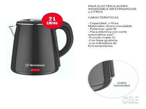Pava Electrica Acero Inoxidable Westinghouse 2 Litros