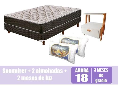 Combo Sommier + Cubecolchon + 2 almohadas + 2 cajoneras