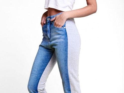 Jean calce high rise, en lona algodón 100%