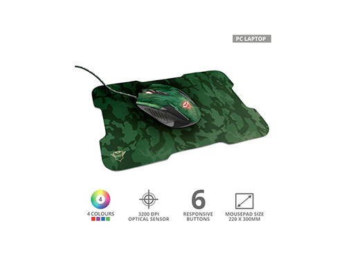 Combo Mouse Gamer + Mouse Pad Trust Camuflado 3200dpi Led