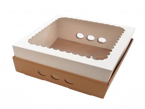 Caja Para Desayuno O Torta 25x25x12 Con Visor X10u