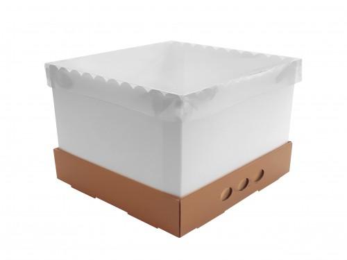 Caja Para Tortas Altas 25x25x25 Tapa Transparente X10