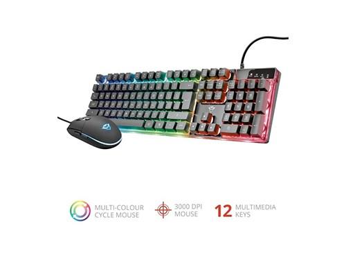 Combo Kit Teclado + Mouse Gamer Trust Azor Rgb Español Pc