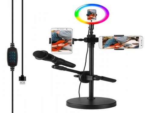 Aro Anillo Selfie Led 26 Cm Rgb Ring Light Soporte Microfono