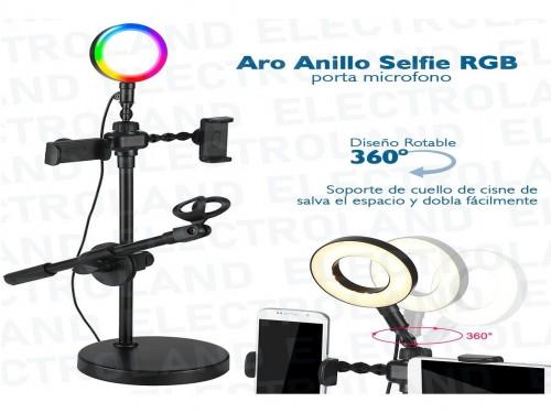 Aro Anillo Selfie Led 20 Cm Rgb Ring Light Soporte Microfono Control R