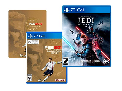 CONSOLA PRO+STAR WARS JEDI+JUEGO PS4 PES 2019 DAVID BECKHAM STEEL BOOK