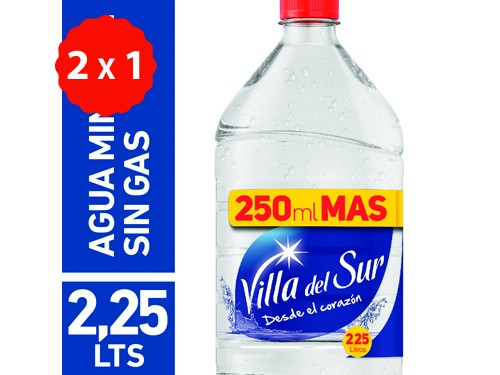 2x1 AGUA MINERAL SIN GAS VILLA DEL SUR 2.25LTS
