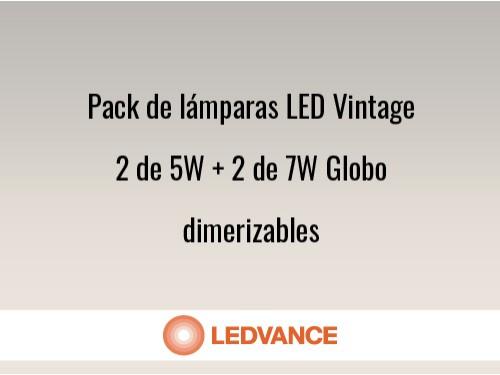 Pack de lámparas LED Vintage 2 de 5W + 2 de 7W Globo dimerizables