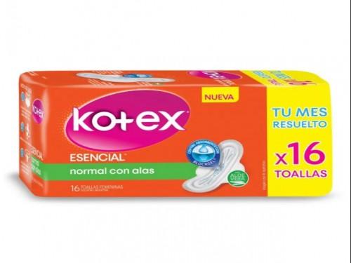 Toallas Femeninas Kotex Esencial Normal con Alas x 16 un