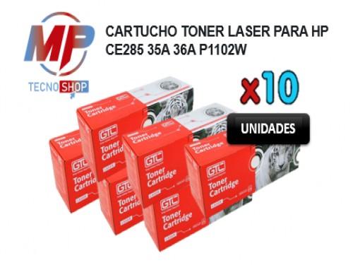 COMBO X 10 TONER LASER PARA HP CE285 35A 36A P1102W