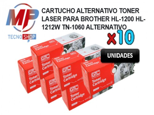 COMBO X 10 CARTUCHO TONER LASER PARA BROTHER HL-1200 HL-1212W TN-1060